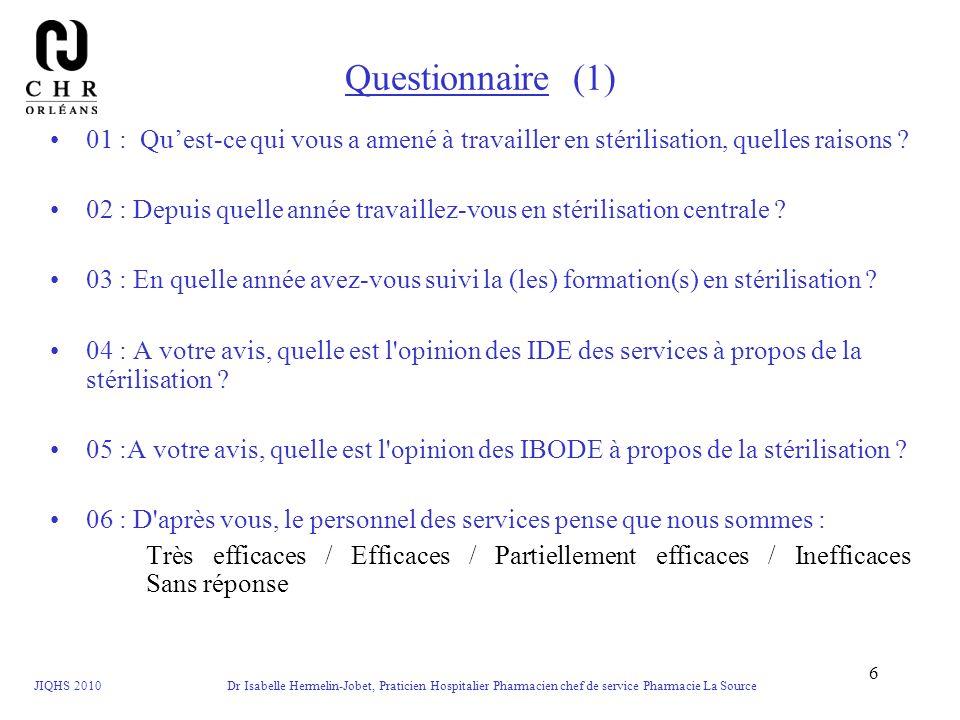 JIQHS 2010 Dr Isabelle Hermelin-Jobet, Praticien Hospitalier Pharmacien chef de service Pharmacie La Source 6 Questionnaire (1) 01 : Quest-ce qui vous