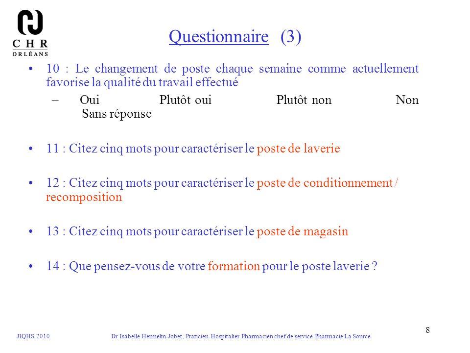 JIQHS 2010 Dr Isabelle Hermelin-Jobet, Praticien Hospitalier Pharmacien chef de service Pharmacie La Source 9 Questionnaire (4) 15 : Que pensez-vous de votre formation pour le poste condi / recompo .