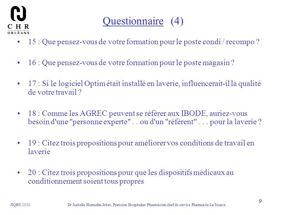 JIQHS 2010 Dr Isabelle Hermelin-Jobet, Praticien Hospitalier Pharmacien chef de service Pharmacie La Source 9 Questionnaire (4) 15 : Que pensez-vous d