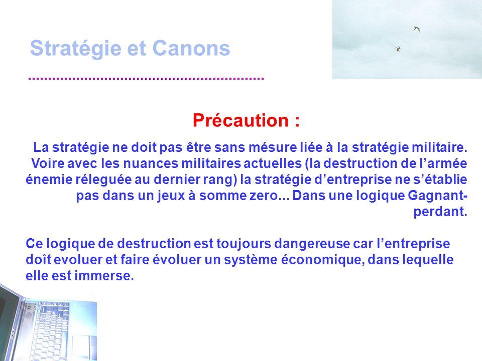 Stratégie et Canons Précaution : La stratégie ne doit pas être sans mésure liée à la stratégie militaire.