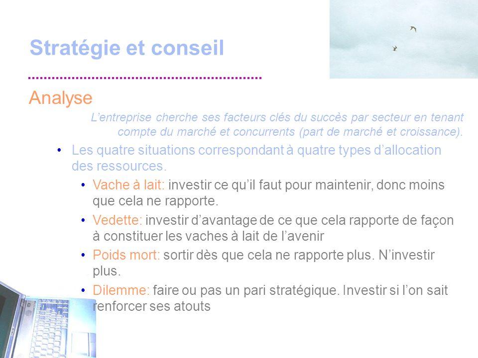 Stratégie et conseil Analyse Lentreprise cherche ses facteurs clés du succès par secteur en tenant compte du marché et concurrents (part de marché et croissance).