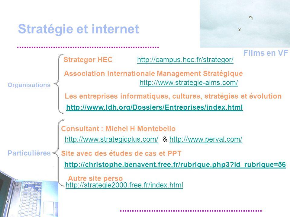Stratégie et internet http://christophe.benavent.free.fr/rubrique.php3 id_rubrique=56 Site avec des études de cas et PPT http://campus.hec.fr/strategor/ Strategor HEC Consultant : Michel H Montebello http://strategie2000.free.fr/index.html http://www.strategicplus.com/http://www.perval.com/& http://www.strategie-aims.com/ http://www.ldh.org/Dossiers/Entreprises/index.html Les entreprises informatiques, cultures, stratégies et évolution Association Internationale Management Stratégique Films en VF Organisations Particulières Autre site perso