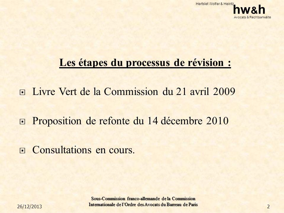 Hertslet Wolfer & Heintz hw & h Avocats & Rechtsanwälte Sous-Commission franco-allemande de la Commission Internationale de lOrdre des Avocats du Barreau de Paris III.