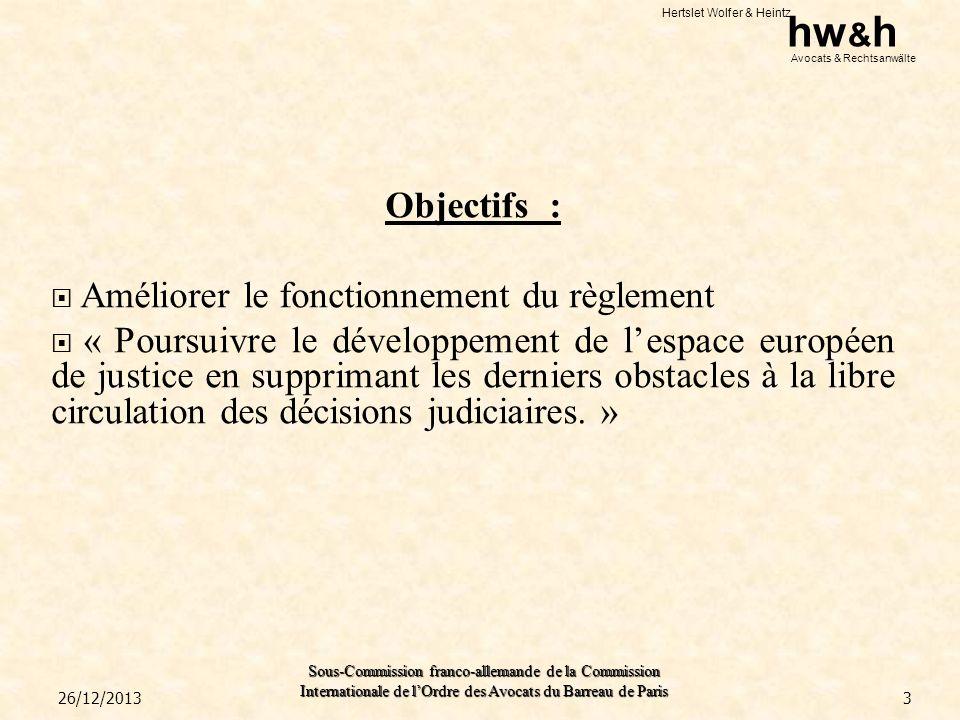 Hertslet Wolfer & Heintz hw & h Avocats & Rechtsanwälte Sous-Commission franco-allemande de la Commission Internationale de lOrdre des Avocats du Barreau de Paris Clauses attributives de juridiction: Si une convention attribuant compétence exclusive à une juridiction dun État membre a été conclue, les tribunaux des autres États membres ne pourront connaître du litige tant que le tribunal désigné par la clause na pas décliné sa compétence (nouvel article 32.2) Exception : Sauf si la clause attributive de juridiction est nulle sur le fond selon le droit de lEtat membre de la juridiction désignée.