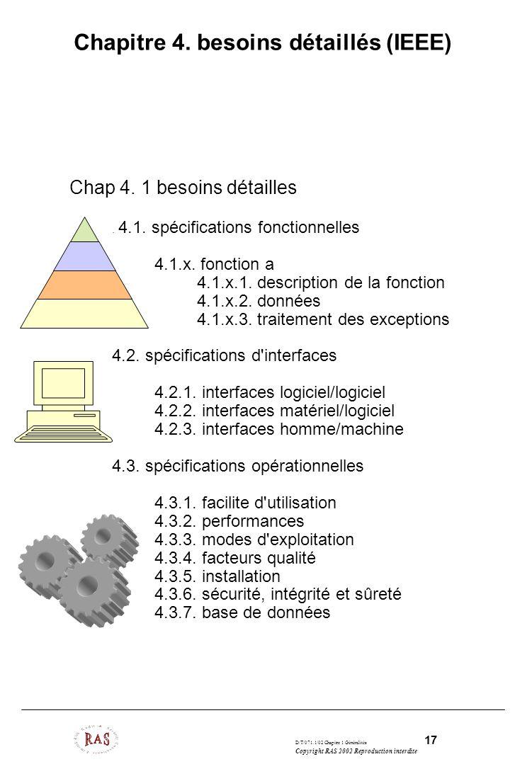 D/T/071.1/02 Chapitre 1 Généralités 17 Copyright RAS 2002 Reproduction interdite Chapitre 4. besoins détaillés (IEEE) Chap 4. 1 besoins détailles. 4.1