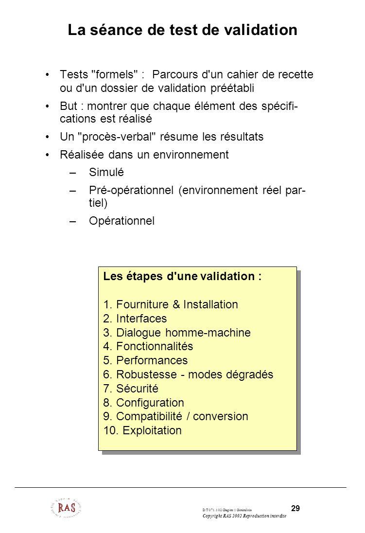 D/T/071.1/02 Chapitre 1 Généralités 29 Copyright RAS 2002 Reproduction interdite La séance de test de validation Tests