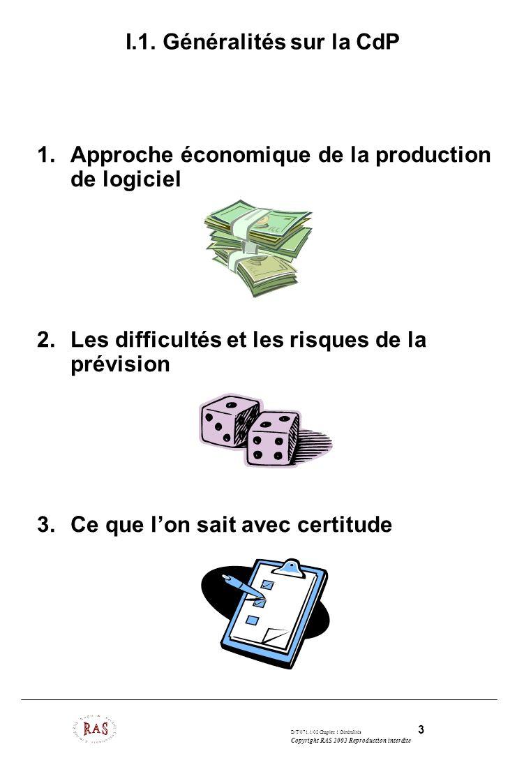 D/T/071.1/02 Chapitre 1 Généralités 3 Copyright RAS 2002 Reproduction interdite I.1. Généralités sur la CdP 1.Approche économique de la production de