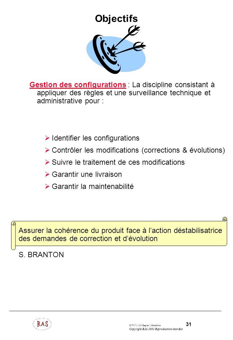 D/T/071.1/02 Chapitre 1 Généralités 31 Copyright RAS 2002 Reproduction interdite Objectifs Gestion des configurations : La discipline consistant à app