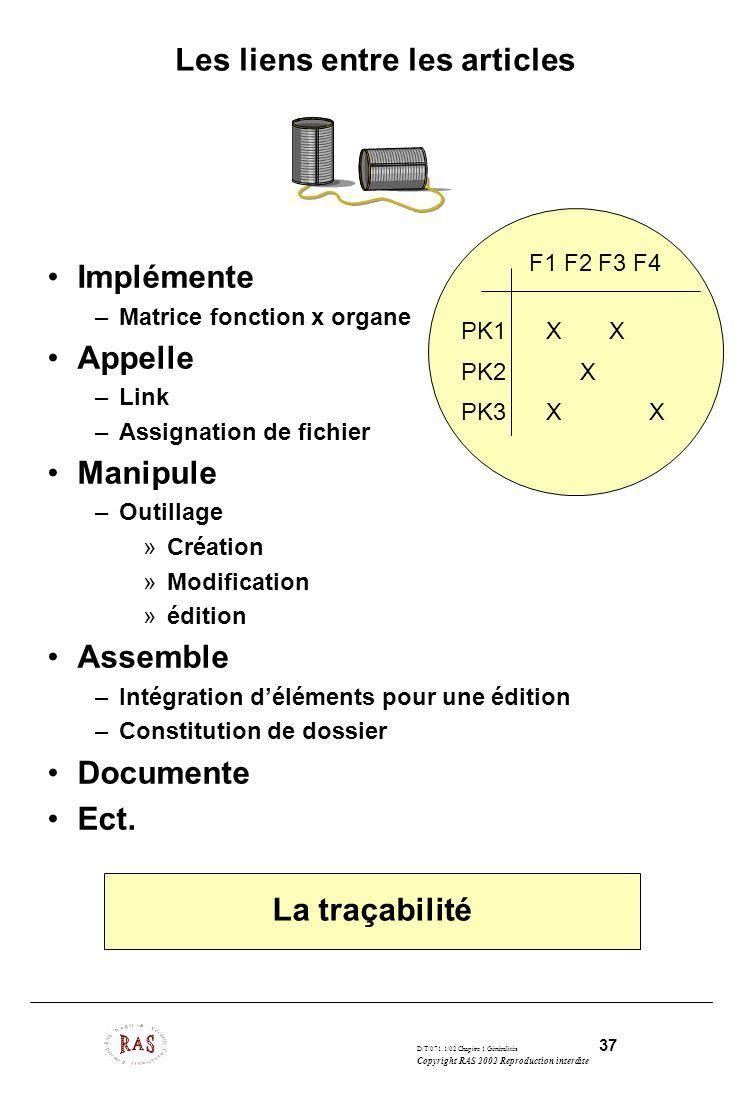 D/T/071.1/02 Chapitre 1 Généralités 37 Copyright RAS 2002 Reproduction interdite Les liens entre les articles Implémente –Matrice fonction x organe Ap