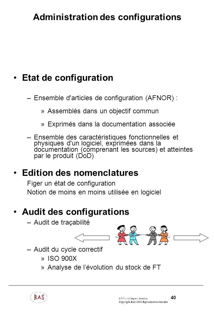D/T/071.1/02 Chapitre 1 Généralités 40 Copyright RAS 2002 Reproduction interdite Administration des configurations Etat de configuration –Ensemble d'a