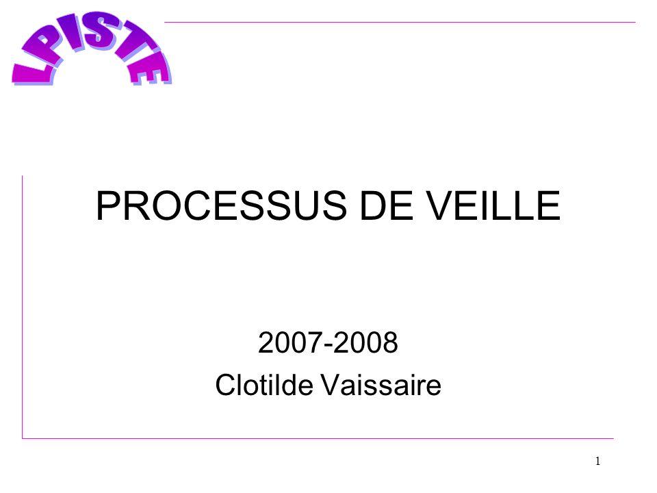 1 PROCESSUS DE VEILLE 2007-2008 Clotilde Vaissaire