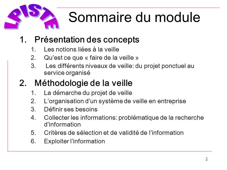 2 Sommaire du module 1.Présentation des concepts 1.Les notions liées à la veille 2.Quest ce que « faire de la veille » 3. Les différents niveaux de ve