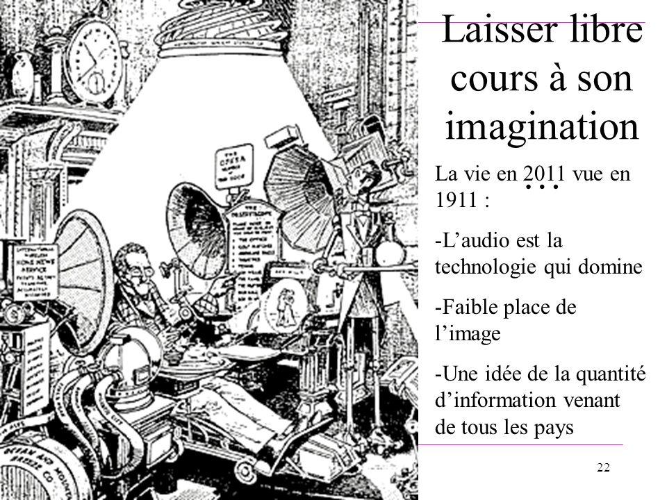 22 Laisser libre cours à son imagination … La vie en 2011 vue en 1911 : -Laudio est la technologie qui domine -Faible place de limage -Une idée de la