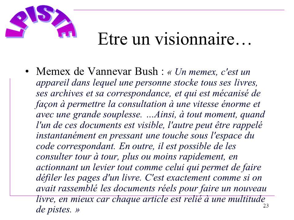 23 Etre un visionnaire… Memex de Vannevar Bush : « Un memex, c'est un appareil dans lequel une personne stocke tous ses livres, ses archives et sa cor