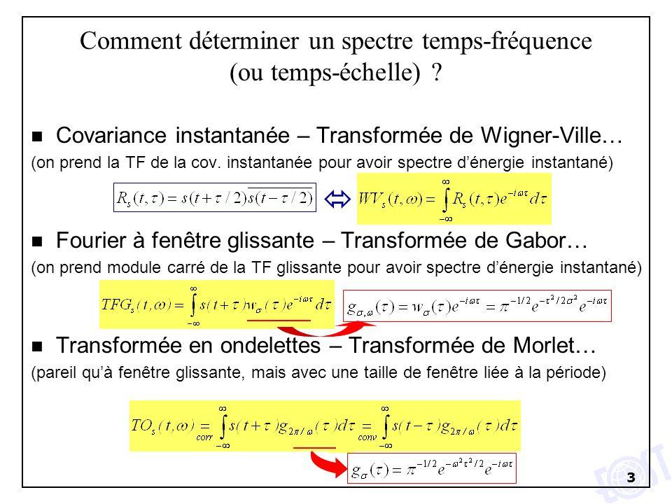 3 Comment déterminer un spectre temps-fréquence (ou temps-échelle) ? n Covariance instantanée – Transformée de Wigner-Ville… (on prend la TF de la cov