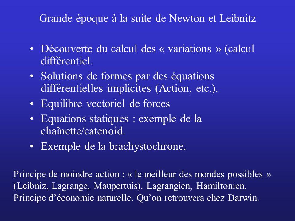 Grande époque à la suite de Newton et Leibnitz Découverte du calcul des « variations » (calcul différentiel. Solutions de formes par des équations dif
