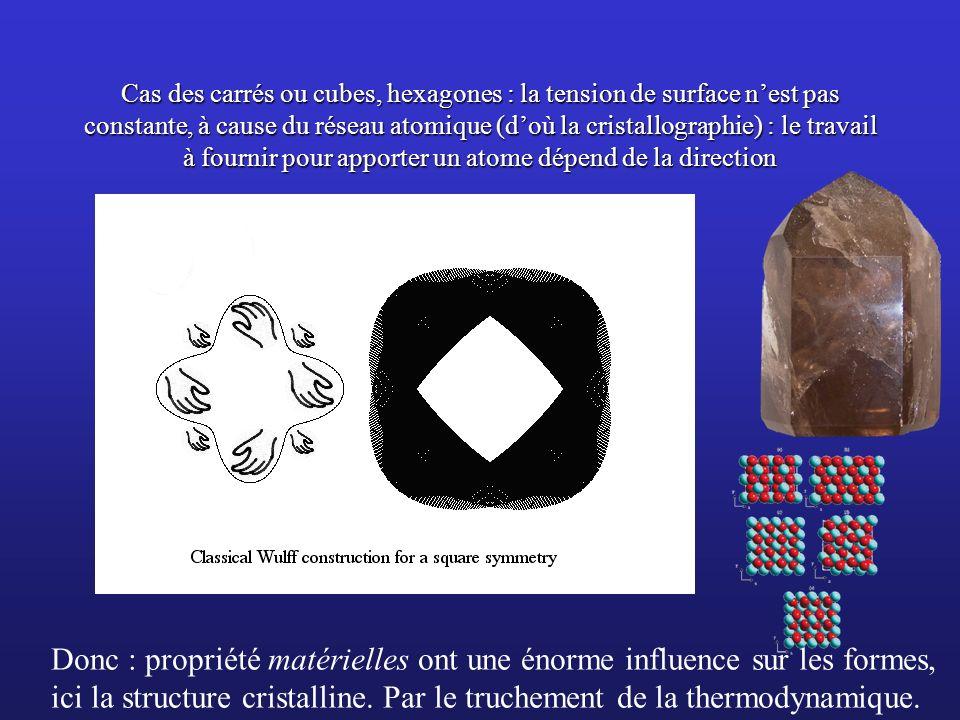Cas des carrés ou cubes, hexagones : la tension de surface nest pas constante, à cause du réseau atomique (doù la cristallographie) : le travail à fou