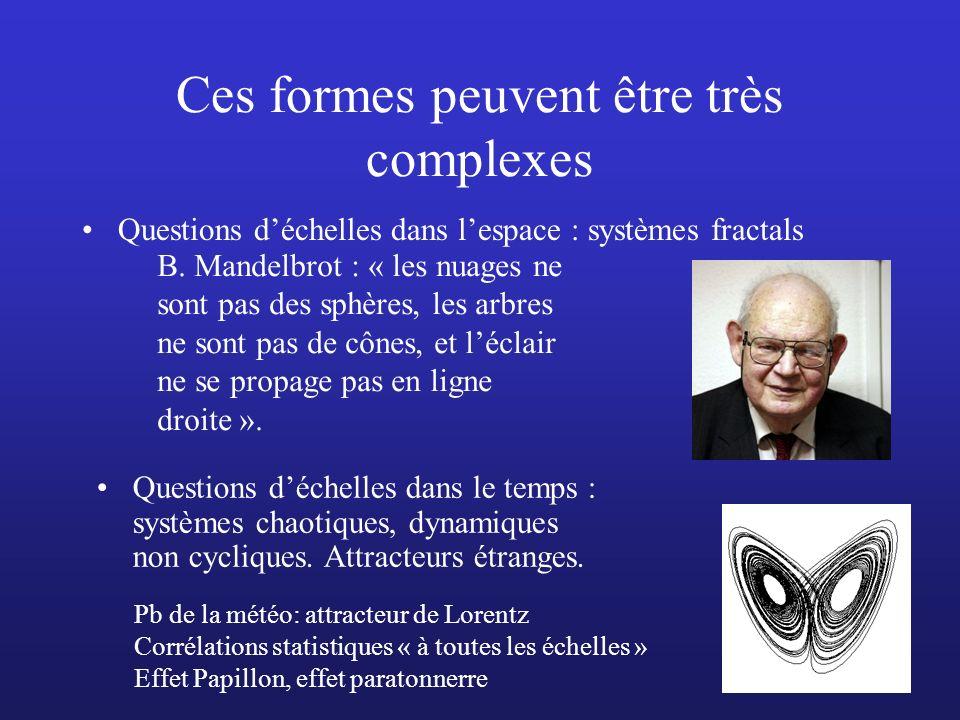 Ces formes peuvent être très complexes Questions déchelles dans lespace : systèmes fractals Questions déchelles dans le temps : systèmes chaotiques, d