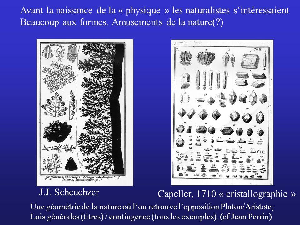 Capeller, 1710 « cristallographie » Une géométrie de la nature où lon retrouve lopposition Platon/Aristote; Lois générales (titres) / contingence (tou