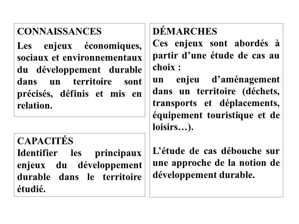 CONNAISSANCES Les enjeux économiques, sociaux et environnementaux du développement durable dans un territoire sont précisés, définis et mis en relatio