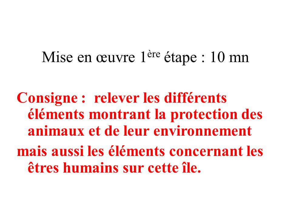 Mise en œuvre 1 ère étape : 10 mn Consigne : relever les différents éléments montrant la protection des animaux et de leur environnement mais aussi le