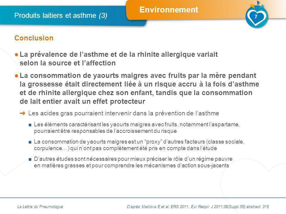 Environnement La prévalence de lasthme et de la rhinite allergique variait selon la source et laffection La consommation de yaourts maigres avec fruit