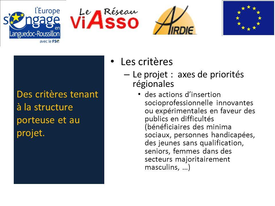 Les critères – Le projet : axes de priorités régionales des actions dinsertion socioprofessionnelle innovantes ou expérimentales en faveur des publics