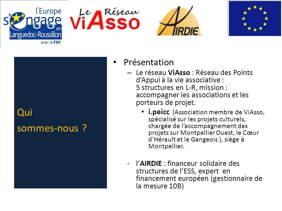 Présentation – Le réseau ViAsso : Réseau des Points dAppui à la vie associative : 5 structures en L-R, mission : accompagner les associations et les p