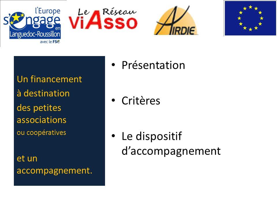 Présentation Critères Le dispositif daccompagnement Un financement à destination des petites associations ou coopératives et un accompagnement.
