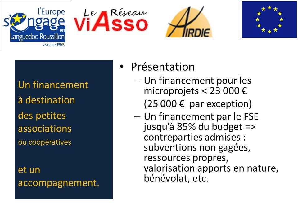 Présentation – Un financement pour les microprojets < 23 000 (25 000 par exception) – Un financement par le FSE jusquà 85% du budget => contreparties
