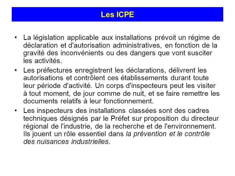 Les ICPE La législation applicable aux installations prévoit un régime de déclaration et d'autorisation administratives, en fonction de la gravité des