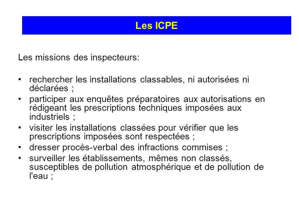Les missions des inspecteurs: rechercher les installations classables, ni autorisées ni déclarées ; participer aux enquêtes préparatoires aux autorisa