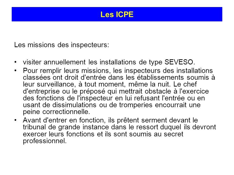 Les missions des inspecteurs: visiter annuellement les installations de type SEVESO. Pour remplir leurs missions, les inspecteurs des installations cl