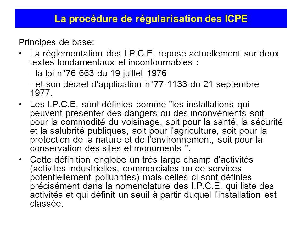 Principes de base: La réglementation des I.P.C.E. repose actuellement sur deux textes fondamentaux et incontournables : - la loi n°76-663 du 19 juille