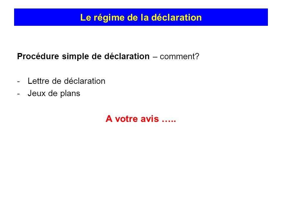 Procédure simple de déclaration – comment? -Lettre de déclaration -Jeux de plans A votre avis ….. Le régime de la déclaration