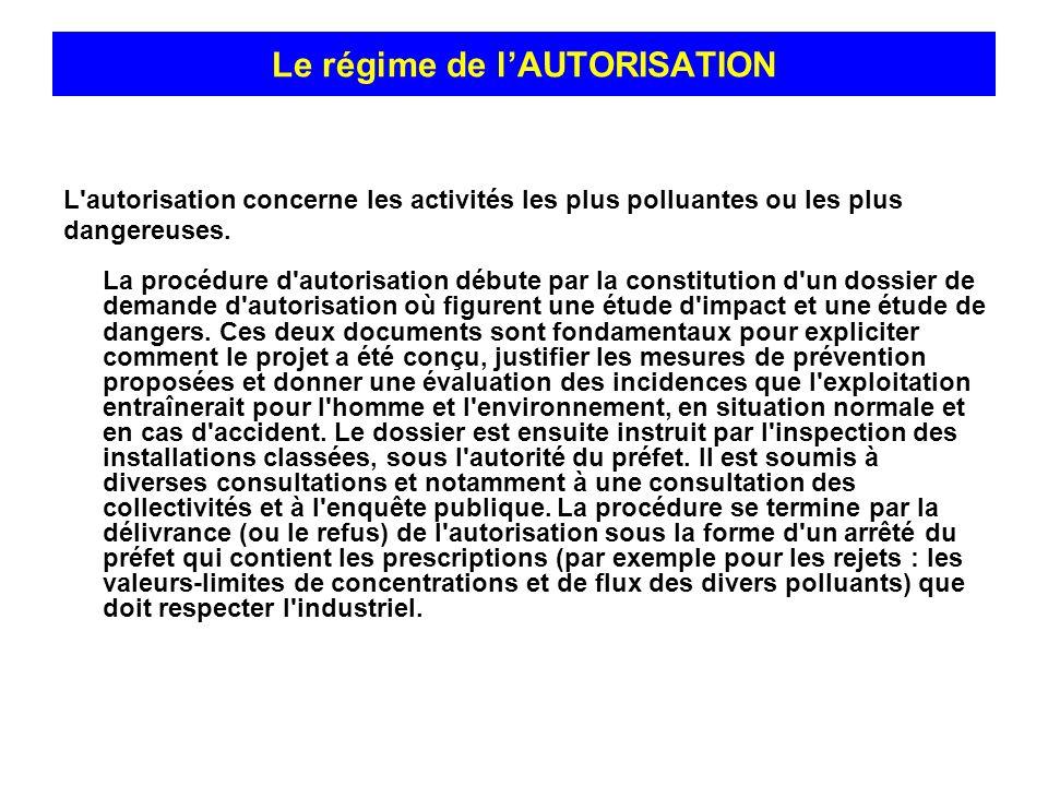 L'autorisation concerne les activités les plus polluantes ou les plus dangereuses. La procédure d'autorisation débute par la constitution d'un dossier