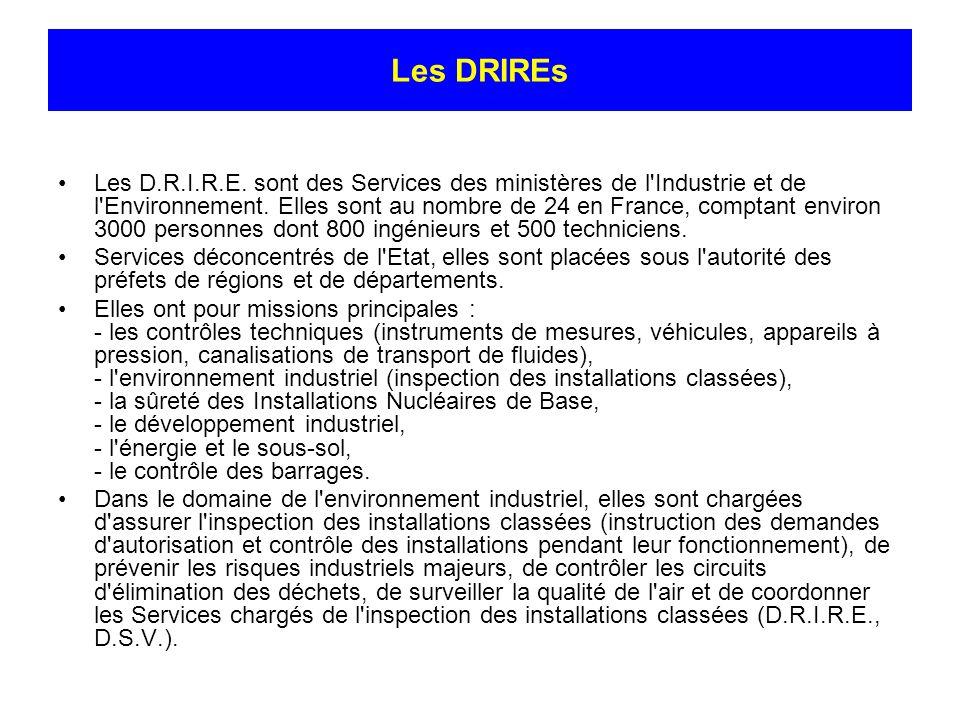 Les DRIREs Les D.R.I.R.E. sont des Services des ministères de l'Industrie et de l'Environnement. Elles sont au nombre de 24 en France, comptant enviro