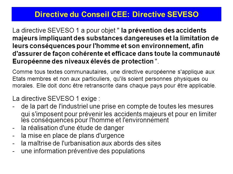 La directive SEVESO 1 a pour objet