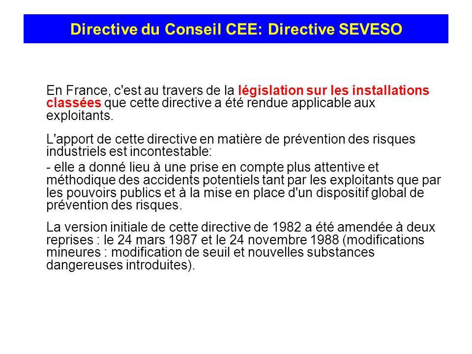 En France, c'est au travers de la législation sur les installations classées que cette directive a été rendue applicable aux exploitants. L'apport de