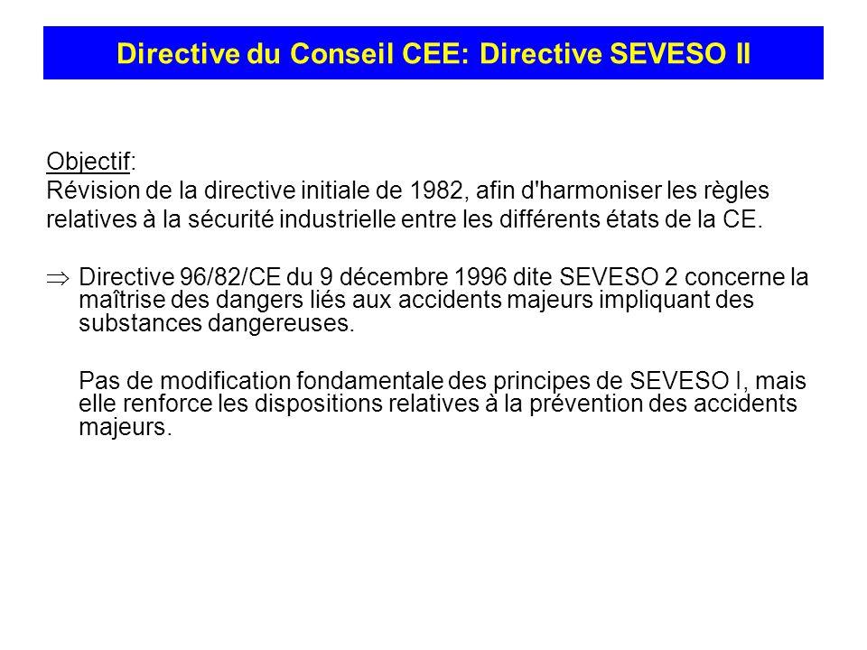 Objectif: Révision de la directive initiale de 1982, afin d'harmoniser les règles relatives à la sécurité industrielle entre les différents états de l