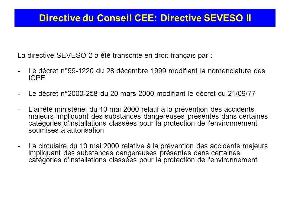 La directive SEVESO 2 a été transcrite en droit français par : -Le décret n°99-1220 du 28 décembre 1999 modifiant la nomenclature des ICPE -Le décret