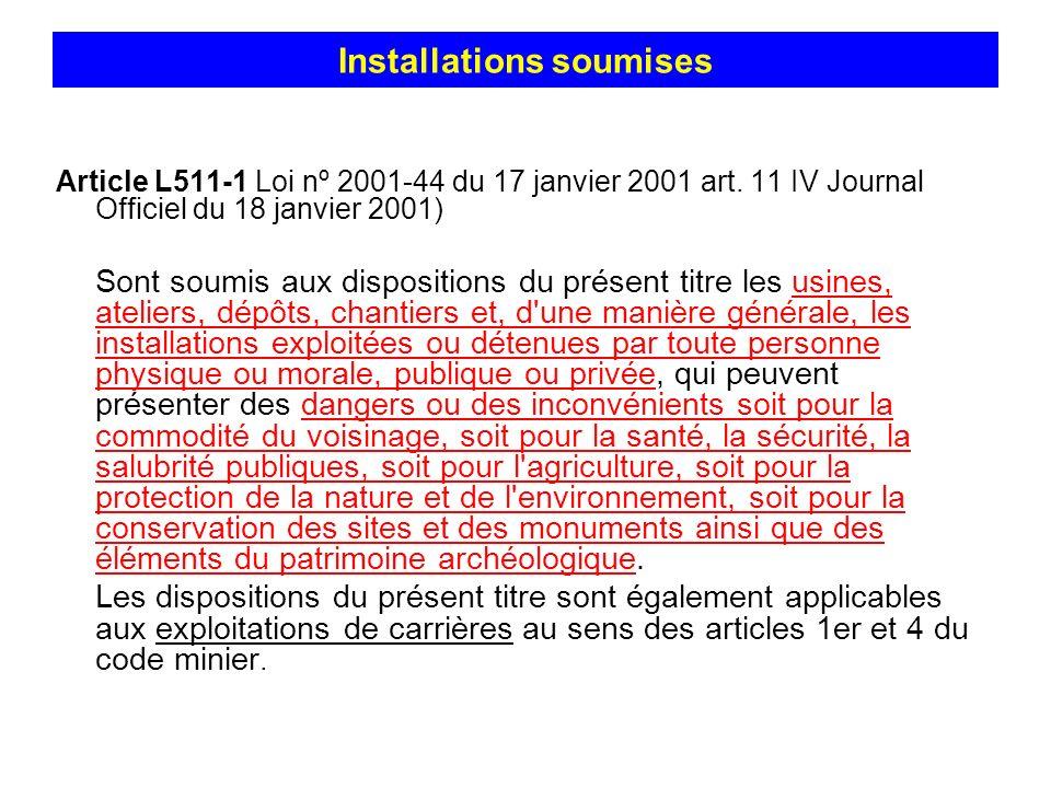 Installations soumises Article L511-1 Loi nº 2001-44 du 17 janvier 2001 art. 11 IV Journal Officiel du 18 janvier 2001) Sont soumis aux dispositions d