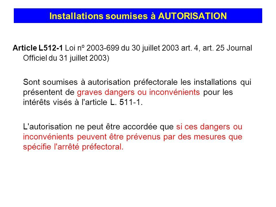 Article L512-1 Loi nº 2003-699 du 30 juillet 2003 art. 4, art. 25 Journal Officiel du 31 juillet 2003) Sont soumises à autorisation préfectorale les i