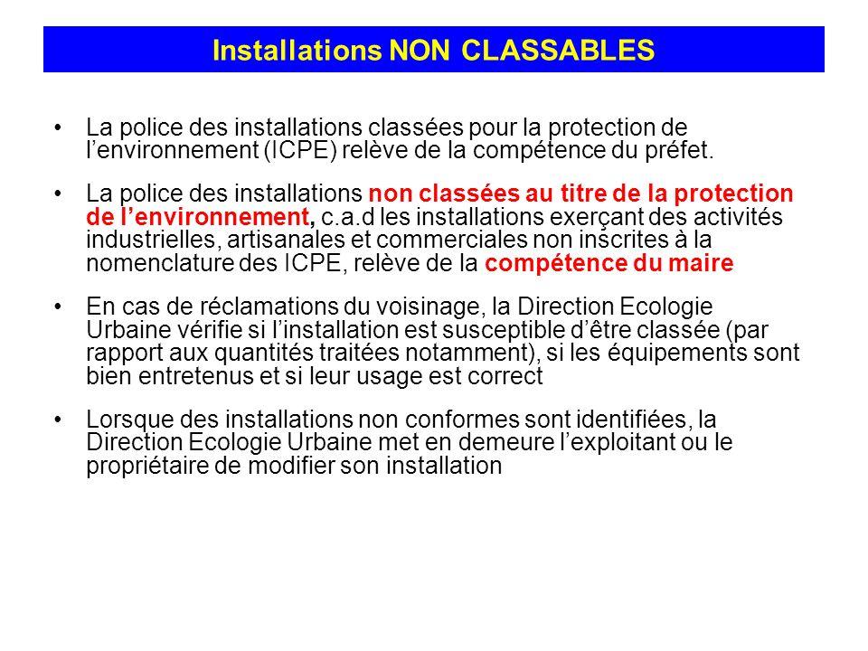 Installations NON CLASSABLES La police des installations classées pour la protection de lenvironnement (ICPE) relève de la compétence du préfet. La po