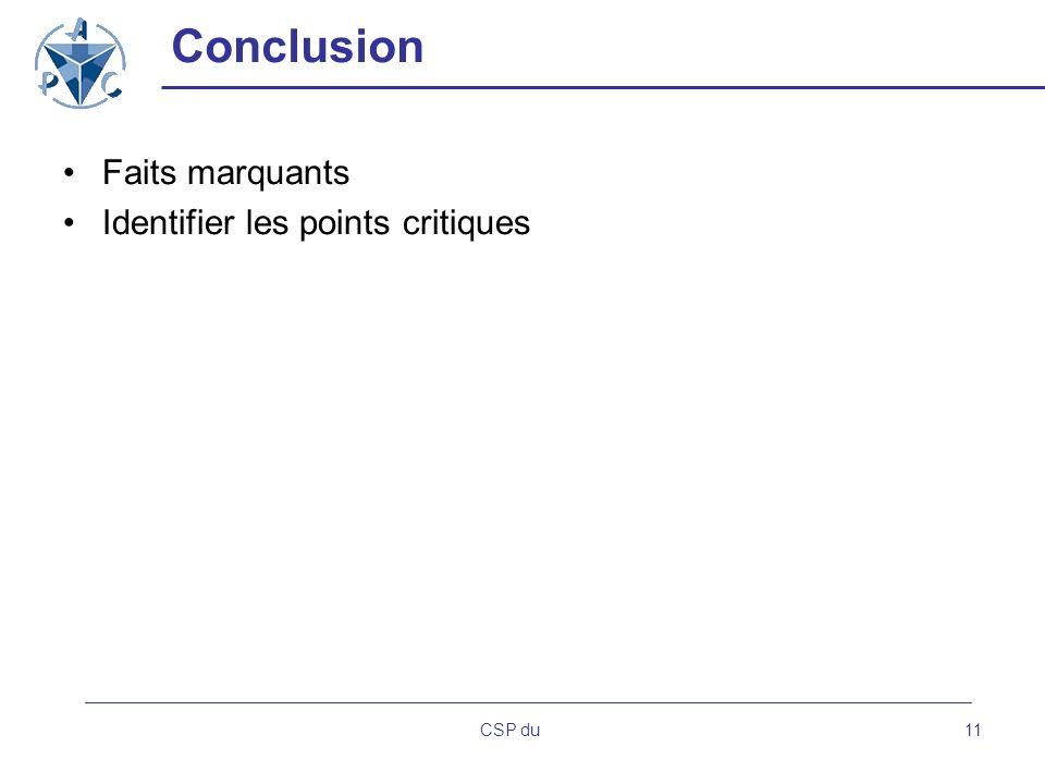 CSP du11 Conclusion Faits marquants Identifier les points critiques