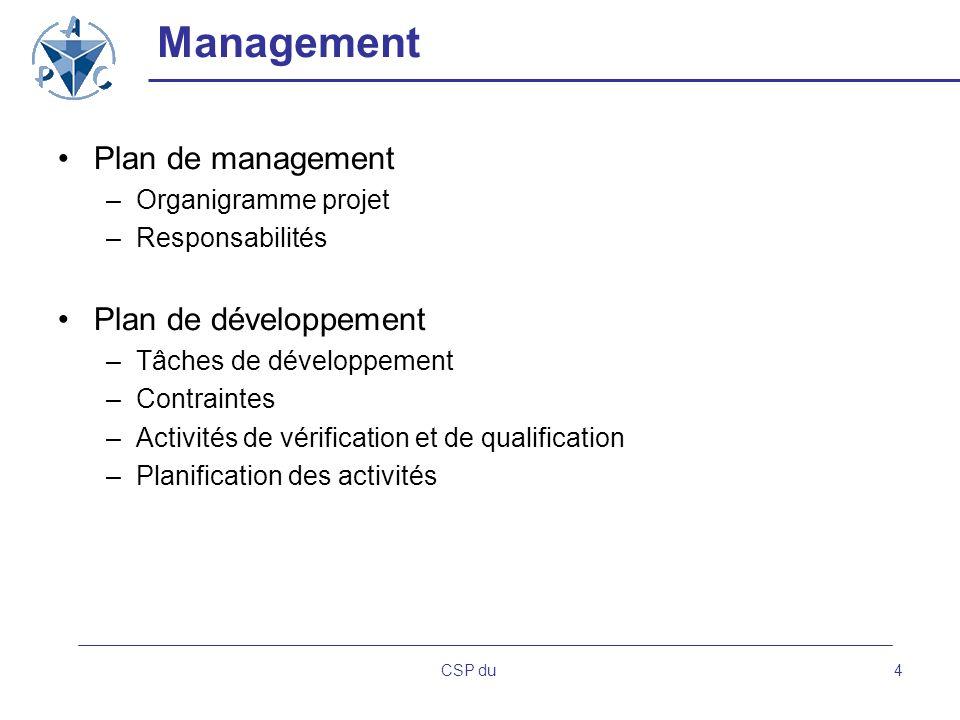 CSP du4 Management Plan de management –Organigramme projet –Responsabilités Plan de développement –Tâches de développement –Contraintes –Activités de