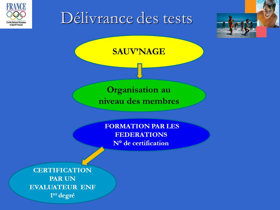 Délivrance des tests SAUVNAGE Organisation au niveau des membres FORMATION PAR LES FEDERATIONS N° de certification CERTIFICATION PAR UN EVALUATEUR ENF 1 er degré