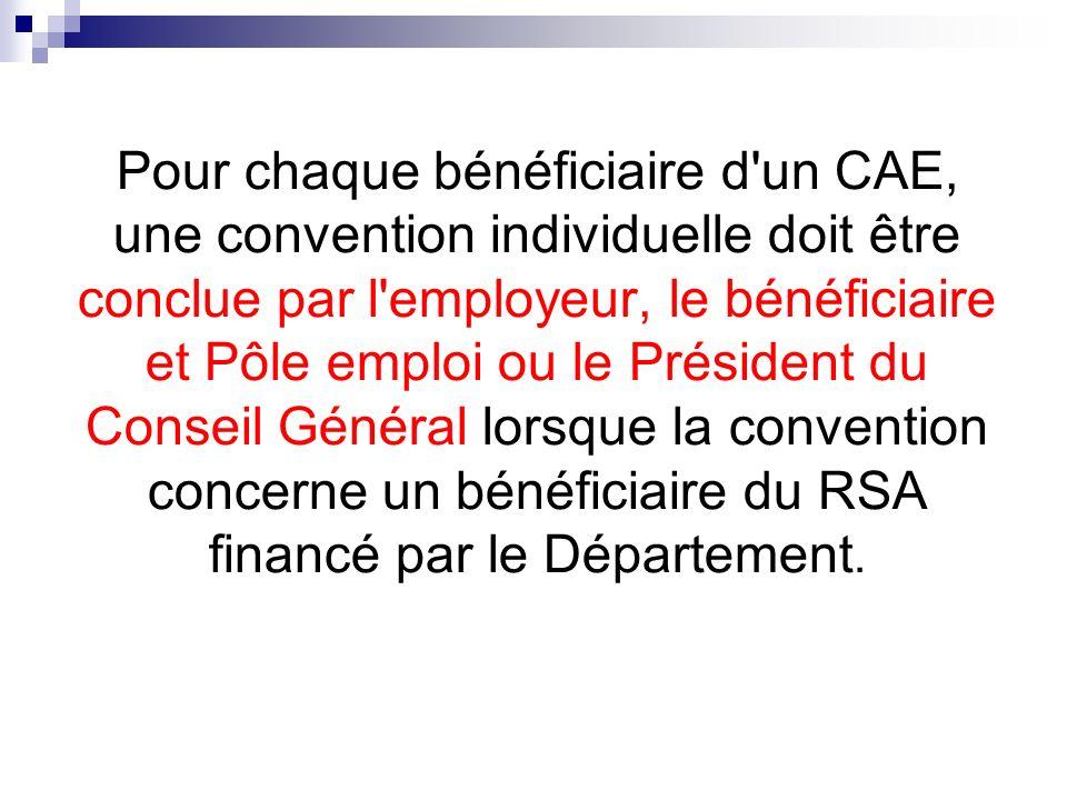 Pour chaque bénéficiaire d'un CAE, une convention individuelle doit être conclue par l'employeur, le bénéficiaire et Pôle emploi ou le Président du Co