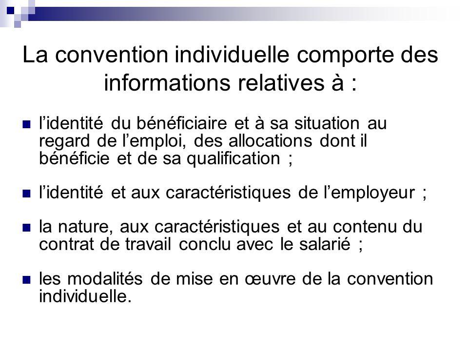 La convention individuelle comporte des informations relatives à : lidentité du bénéficiaire et à sa situation au regard de lemploi, des allocations d