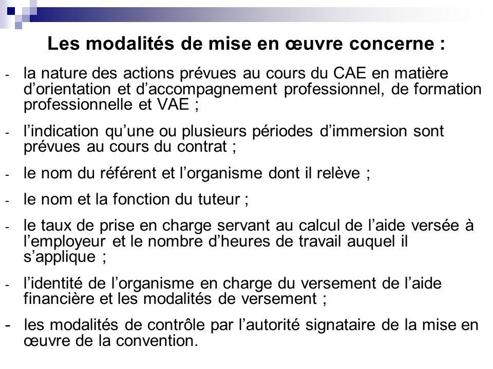 Les modalités de mise en œuvre concerne : - la nature des actions prévues au cours du CAE en matière dorientation et daccompagnement professionnel, de